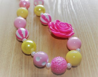 Pink and Yellow Chunky Bead Necklace