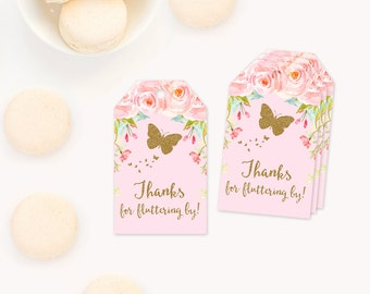 Butterfly favor tags, Butterfly Birthday Party Printable Favor Tags, Butterfly thank you tags  favor tags, pink and gold 1st first birthday