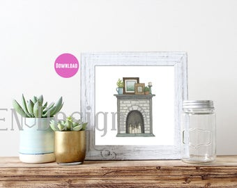 Fireplace Watercolor Print - Download - Two Sizes - 8x8 and 8x10