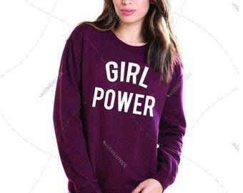 "Unisex - Premium Retail Fit ""Girl Power"" Feminist, Woman's Rights! Femme! Crew-neck Fleece, Sweater LGBTQ (S,M, L, XL+)"