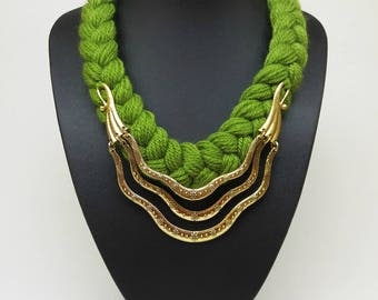 Gold and green knitted crochet bib statement short necklace collar, Green necklace, Gold necklace, Everyday nacklace, Elegant necklace