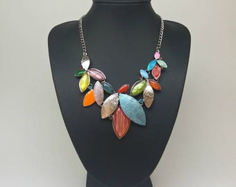 Multi colour bib Necklace, Colourful Necklace, Multi colour Crystal Necklace Vintage Style Spring Leaf, Silver necklace,Colorful Necklace