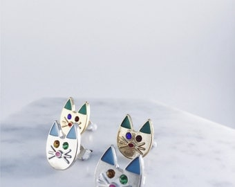 Cat Lover collection; cat earrings; cat pierces; cat accessories; silver earrings; gold earrings