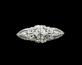 Vintage Art Deco Silver Toned Clear Rhinestone Duette (Brooch Pin & Shoe Clips) - Pat. No. 1945268