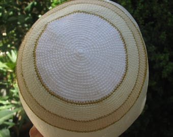Hand Crocheted White kippah with gold lines Bar Mitsva gift . Judaica Kippah Bar Mitzvah Gift Kippot Kipa