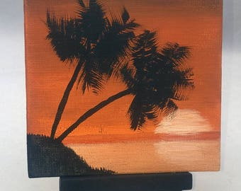 Sunset Palms - Small Art Painting with Desktop Easel, 4 x 4 inch
