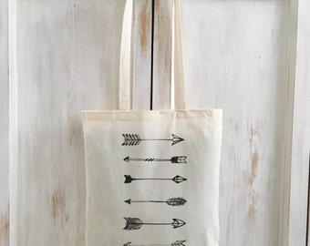 Arrows tote bag canvas sac black and white bohemian
