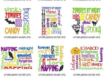 Halloween-Word-Clouds ( 10 Machine Embroidery Designs from ATW ) XYZ17B