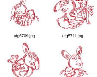 Easter-Bunny-Redwork 4x4 5x7 ( 6 Machine Embroidery Designs from ATW ) XYZ17C