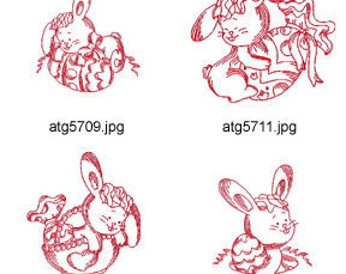 Easter-Bunny-Redwork 4x4 5x7 ( 6 Machine Embroidery Designs from ATW ) XYZ17C