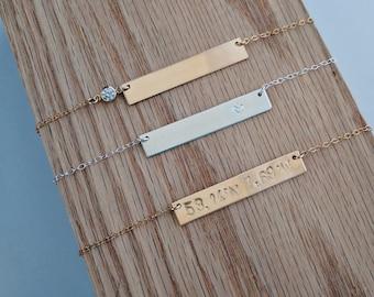 Gold Bar Necklace . Gold Filled Bar Necklace . Custom Name Bar Necklace . Coordinates Necklace . Silver Custom Bar Necklace .  Engraved Bar