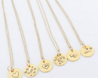 Gold Disc Necklace, Tiny Heart Necklace, Dainty Gold Necklace, Small Disc Necklace, Tiny Disc Necklace, Custom Disk Necklace, Bestfriend