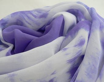 NEW! Pure Silk Georgette Scarf - 'Bluebell' - Handmade and Hand dyed