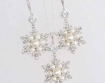 Handmade Vintage Inspired Pearl, CZ and Crystal Rhinestone Snowflake Earrings & Necklace Set, Bridal, Wedding (Pearl-764)