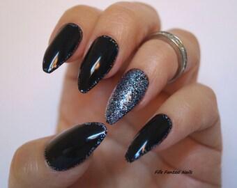 Bling nails etsy black coffin nails bling nails nail design nail art gothic nails prinsesfo Image collections