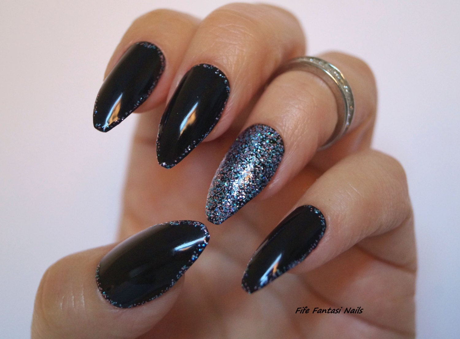 Black coffin nails Bling Nails Nail design Nail art Gothic