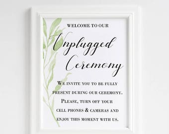 printable unplugged ceremony sign, unplugged sign, greenery wedding, unplugged wedding sign, no cell phones sign, no cameras sign