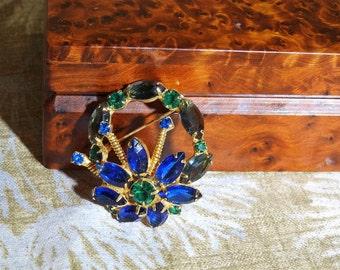 stunning estate high end blue and green rhinestone brooch