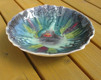 "60s / Ceramic Bowl / West Germany / Bay Keramik / Fat Lava / Drip Glaze / Mid Century / Large / Decorative / Fruit Bowl / 10"" / With Sticker"