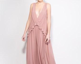 Antique pink Dress, Maxi Dress, Evening Dress, Oversize dress, Open Back dress, Bridesmaid Dress, Prom Dress, Summer dress, Boho chic dress