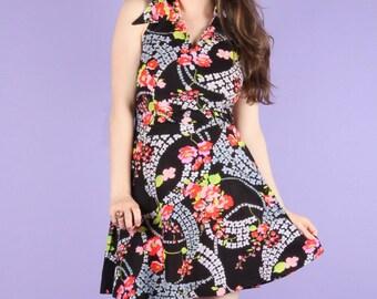 70s Vintage Floral Halter Dress