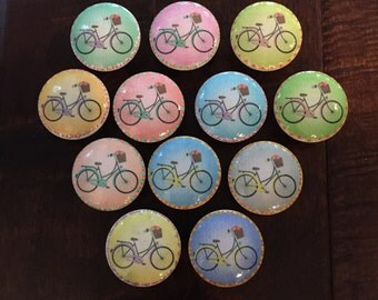 1.5 inch bicycle floral basket cabinet knobs drawer pulls yellow blue pink green