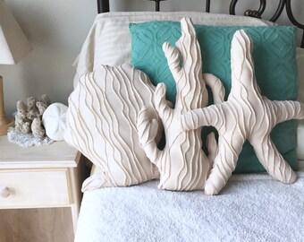 SET 3 Nautical Pillows - Starfish Seashell & Coral. Mermaid Decor Beach House Under the Sea Bedroom Baby Shower Birthday Shell Ocean Sealife