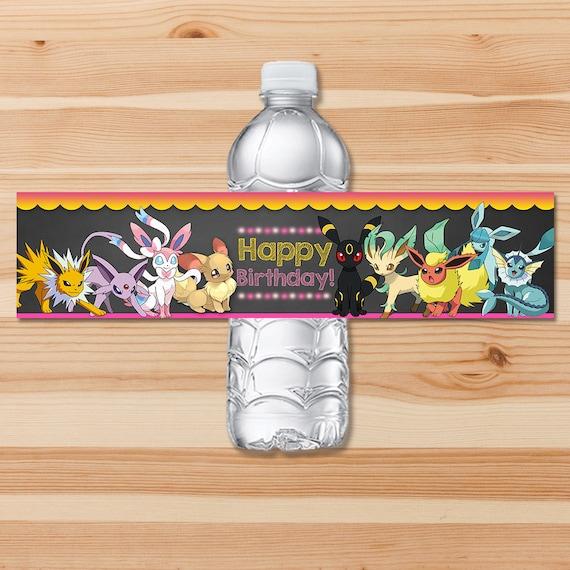 Pokemon Eevee Evolutions Drink Labels - Pink Chalkboard - Girl Pokemon Eevee Water Bottle Label - Pokemon Party - Pokemon Printables - Evee