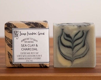 Sea Clay & Activated Charcoal Soap // Homemade Soap // Artisan Soap // Artisanal Soap // Cold Process Soap // Vegan Soap // Handcrafted Soap