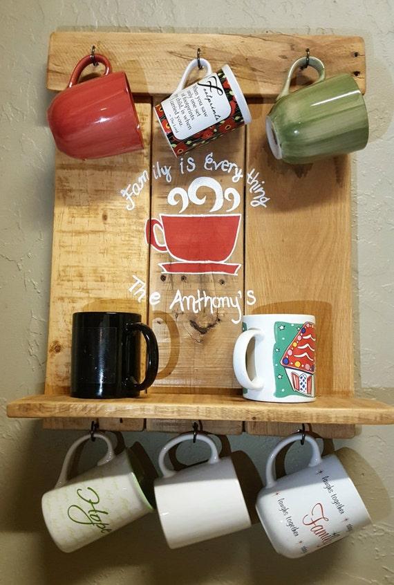 Coffee mug racks mug rack mug display by dbjbpalletcreations for Coffee mug display rack