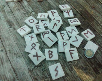 Set of Runes in MARBLE -Elder Futhark - Hand Carved - Hand Painted Viking Runes - Divination - Rune Casting