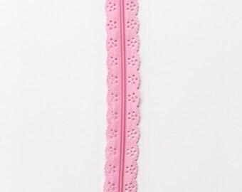"""Light pink 12"""" lace zipper - 12"""" Zippers - Pink zippers - Purse zippers - Dress zippers - Bag zippers - Sewing notions - Sewing zippers"""