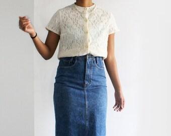 SALE Vintage High Waisted Denim Skirt Highwaisted Jean Skirt Acid Wash Pencil Skirt Slim Maxi Skirt Dark Wash Denim Midi Skirt