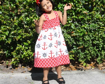 Baby Girl Dress, Girls Nautical Dress, Girls Cotton Dress, Girls Summer Dress, Baby Summer dresses