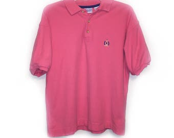 1990s Bugle Boy Company Polo Shirt - Solid Pink - Blue Logo - Size Medium - Vintage