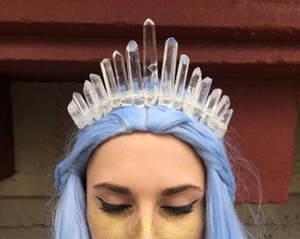 Crystal Crown - The Princess [Polished Clear Crystal Quartz Tiara / Crown], Mermaid Crown, Crystal Headpiece, Quartz Tiara, Gemstone Crown