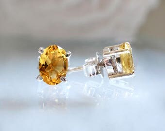 Yellow Citrine Earrings, Gemstone Earrings, silver stud earrings, Yellow earring, November birthstone earring, tiny earrings, simple earring
