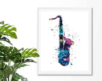 Saxophone #2 Watercolor Fine Art Print, Poster, Wall Art, Home Decor, Kids Wall Art, Play Room Wall Art, Archival print