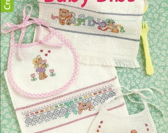 BABY BIBS Counted Cross Stitch Pattern Book - 9 Designs - Designed by Kooler Design Studio - Offered by Leisure Arts - Brand New