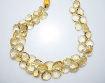 1 Strand Citrine Faceted Heart Shape Beads - Citrine Heart Shape Briolette, 7x7 - 10x10 mm, 7.5 Inch Strand, BL1154A