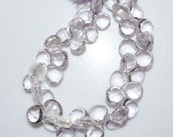 """Natural Pink Amethyst Faceted Heart Shape Beads - Pink Amethyst Heart Shape Briolette , 10x10 - 12x12 mm , 8"""" , BL1474"""