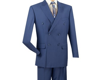Classic-fit double breasted men's suit 2 piece blue suit solid color new with tag