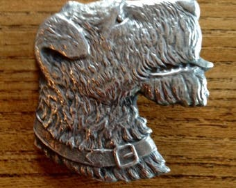 Vinage Airedale or Kerry Blue Sterling Silver Dog Brooch Pin