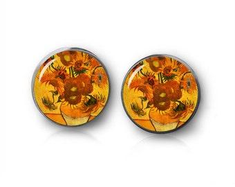 Sunflowers Stud Earrings Van Gogh Sunflowers Earrings Painting Earrings Art Jewelry