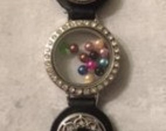 New Item!   Great Combo Genuine Leather Bracelet!  Snap Interchangeable Snaps and a Center Floating Charm Locket - Adjustable