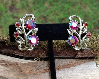 Vintage Coro Red AB Leafy Clip Earrings