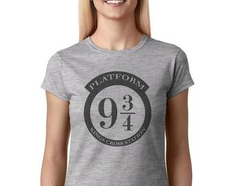 Harry Potter Shirt, Platform 9 3/4 Kings Cross Station Hogwarts Express women t shirt crew neck WXG-10257