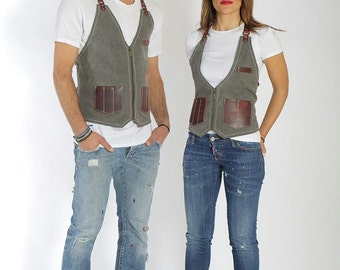 Stylist vest with leather pockets, high quality, with your name or logo, perfect fashionable salon gift for hairdresser - Paul / Marilyn