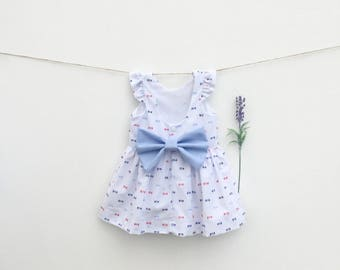 4th of july baby girl dress With a bow in the back by BerryAndKit