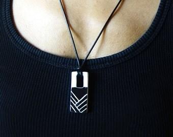 Handmade Ceramic Black and White Necklace